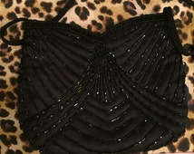 Elegant Vintage La Regale black satin & beaded evening purse/bag