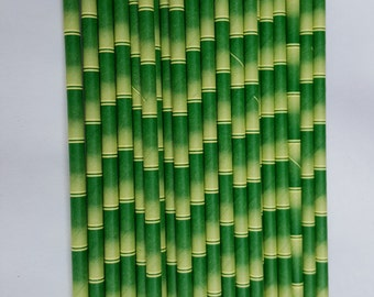 Bamboo Party Straws, Bamboo Paper Straws, Bamboo Straws, Beach Wedding  Fun Party Straws, Jungle Party, Birthday Party Straws,  Set of 10