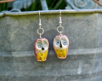 Polymer clay earrings ,handmade polymer clay owl earrings