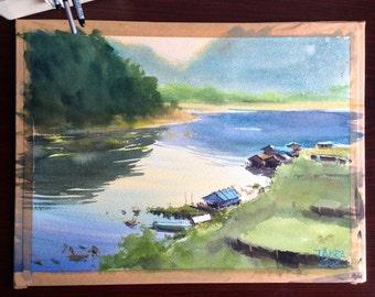 """Original watercolor painting """"Sang Khra Buri, Thailand"""""""