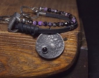 Agate bracelet Sterling silver bracelet Oxidized sterling silver Amethyst Natural leather Handmade bracelet