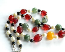 Lovely necklace Faceted cherry amber Bakelite + Jade + Pearls + Onyx ~ unique~