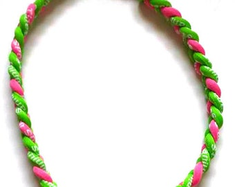 Girls Titanium Sport Necklace Tornado Style Team Sports - 3 Ropes - Pink, Green