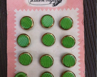 12 Green Vintage Plastic Buttons with Gold Border #3
