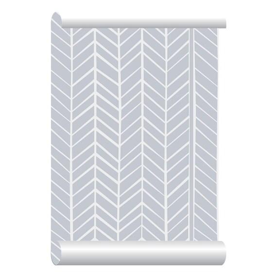 Self Adhesive Removable Wallpaper Herringbone Grey Wallpaper
