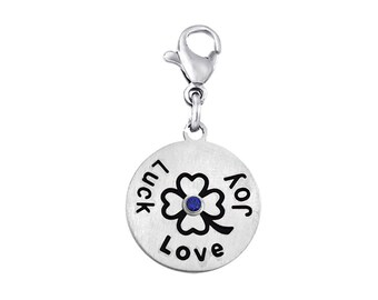 Luck Love Joy Disc Charm With Personalized Birthstone