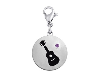 Guitar Disc Charm With Personalized Birthstone