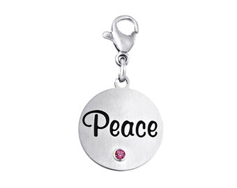Peace Disc Charm With Personalized Birthstone