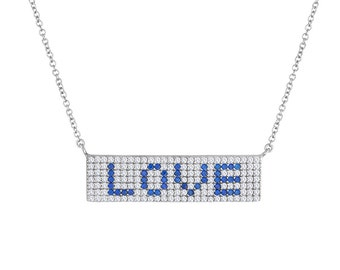 Pave Bar Love Necklace In Sterling Silver