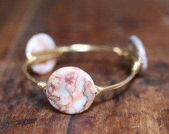 Pink and Gray Marbled Stone Bangle