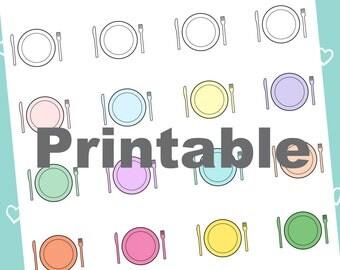 Printable Dinner Plate Planner Stickers