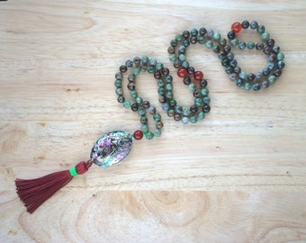 8MM Hand Knotted Natural Green Opal, Carnelian & Abalone Shell 108 Mala Tassel Necklace