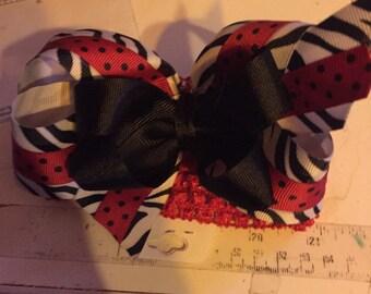 Zebra black and red headband