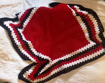 "52""x52"" Crochet Afghan Blanket - Red, Black and White"