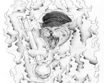 A CAT - Warpaint Shirt Design - Original Drawing