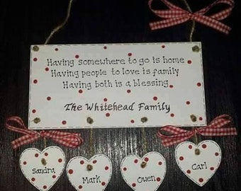 Personalised Family Plaque (Red)