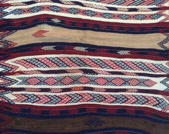 KURDISH jajim rug,flat  woven tribal brocaded kilim rug..
