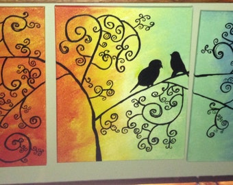 Multicolor painting of  two birds on a branch
