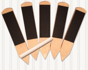 Wooden Rewritable Chalkboard Herb Garden Stakes With Chalk - Set of 5