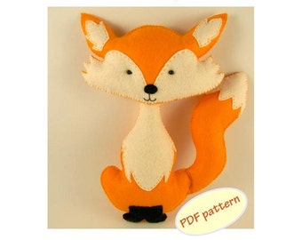 Fox easy to sew felt PDF pattern, Felt Hand Sewing Fox Plushie Pattern Instant Download PDF