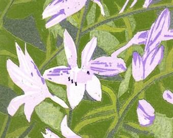 Garden #8, woodcut relief print