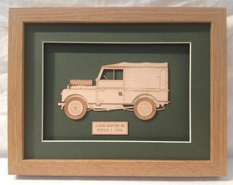 Classic Car Land Rover 86 series 1 - Fine art Laser cut Gift