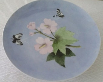 Merlin Hardy cake plate, small blue plate, pedestal plate, Gumps plate, blue cake plate, small cake plate