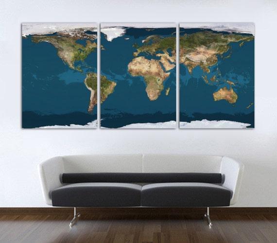 3 Panel Split Art World Map Canvas Print Triptych For: 3 Panel Split World Map Canvas Print. Canvas Prints Digital