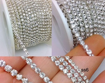 10 Yards Crystal Glass Pointback Clear Rhinestone Setting Silver Chain Close Cup 2/2.5/3/3.5/4/5mm
