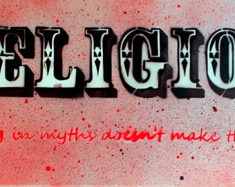 Religion - On Canvas 40cm x 100cm (Red/Silver)