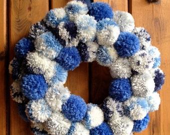 Speckled Blue Pom Door Wreath