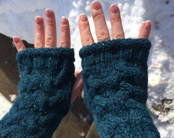 Fingerless Cable Knit Mittens