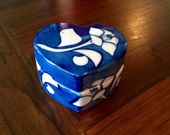 Blue and White Heart Shaped Box