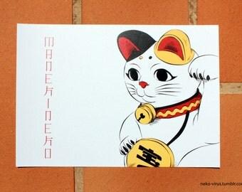 Maneki neko Card - card Maneki neko
