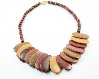 Mixed Tropical Wood Oval Necklace