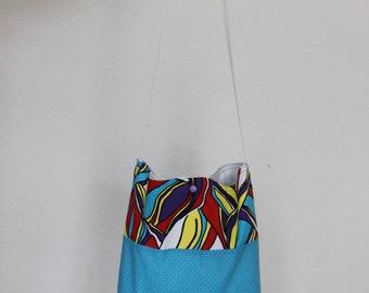 Shoulder bag / / handmade shoulder bag - bunte-yellow - light blue