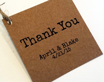50 Kraft Gift Tags - Rustic Simple Thank You Wedding Favor Tags-Personalized.