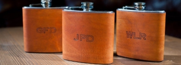 ON SALE Custom Monogrammed Leather Wrapped Flask Groomsmen Wedding Gift