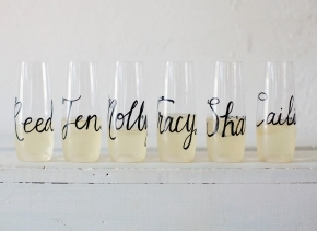 Personalized Stemless Champagne Flutes, GLASS Wedding Calligraphy for Bachelorette Party, Wedding, Shower, Permanent and Original on Etsy