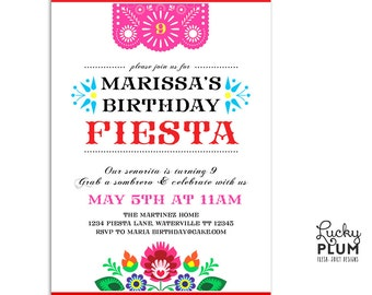 Fiesta Birthday Invitation / Papel Picado Invitation / Folk Invitatio / Flower Invitation / Mexican Fiesta Invitation / Tribal Invitation