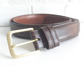 """Large Brown Leather Coach Belt with Brass Hardware. Size 42"""". Vintage Coach Belt.  Classic brown leather belt."""