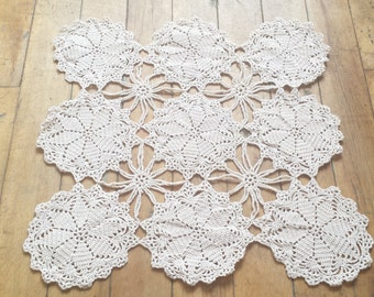 Vintage Butterscotch Cotton Crochet Square Table Runner. Large Farmhouse Style Runner.