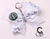 "Silver Chevron ""Cheerleader"" Cheer Bow Keychain"