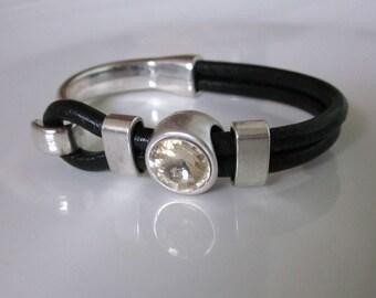 Light Silk Swarovski Crystal Black Leather Half Hook Cuff Bracelet
