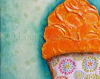 Cupcake Original Painting Mixed Media Oil Acrylic Pastel PaperTextured Collage Painting 8x10 inches   Orange Blue