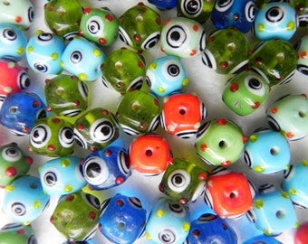 supplies,Beads -  50 Pcs.Best quality beautiful handmade round bumpy design new lampwork  multy colour eye beads.