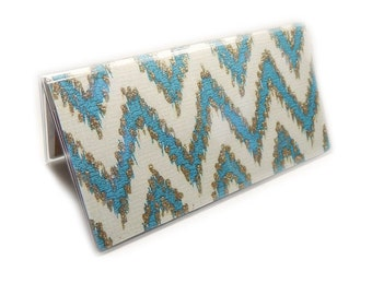 Checkbook Cover - Turquoise and Ivory ikat Chevron - teal gold and cream - sparkly zig zag checkbook holder