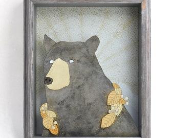 Ursa Laurel- black bear 8x10 printed shadow box-MADE TO ORDER