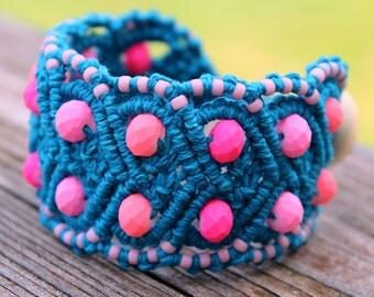 Micro-Macrame Beaded Heart Cuff Bracelet - Blue and Pink