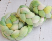 Hand Dyed Merino Wool Top Roving - Hand Painted - Spinning - Wintermint - 4.2 Ounces